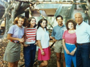 Andover alums and Gendler Grapevine executive committee members Tajlei Levis and Claudia Kraut Rimerman pose in front of the sukkah with other Andover students and Rabbi Gendler, circa 1985.